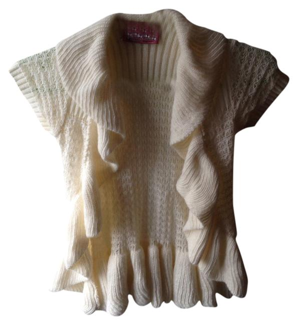Preload https://item5.tradesy.com/images/ivory-white-knit-off-beige-cardigan-sweater-ruffles-short-sleeve-layering-vest-size-4-s-1663084-0-0.jpg?width=400&height=650