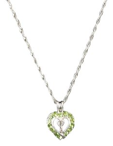 Lime Cz Heart Pendant 18 2 Extender Silvertone Chain Necklace Bj15