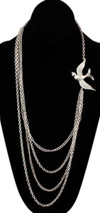 Other Silvertone Rhinestone Dove 31-38 Chain Strands Necklace Bj15