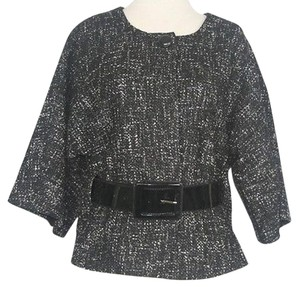Anne Klein Anne Klein Black White Gray Tweed Black Patent Belted Blazer B18