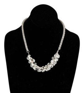 Silvertone 18.25 2.5 Extender Clear Cluster Beads Necklace Bj15