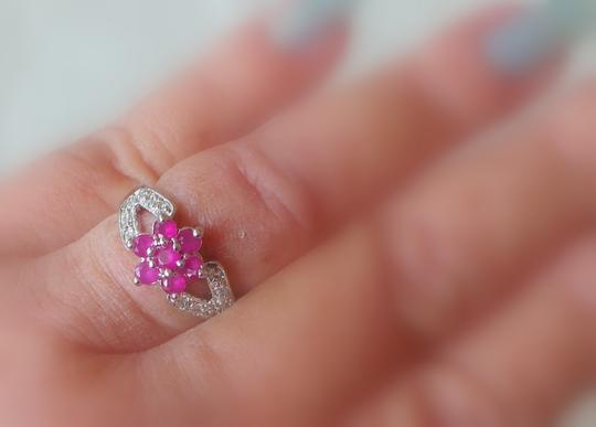 Other Lovely Dainty Natural Ruby 925 Sterling Silver Cocktail Ring 7
