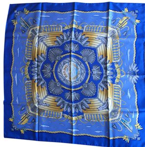Hermès Authentic Hermes Railing Silk Scarf Blue and Golden 35