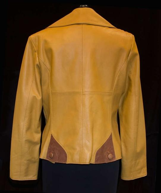 Peruzzi (Florence, Italy) Very Refined Unique Gold with Saddle brown accents and buttons Leather Jacket