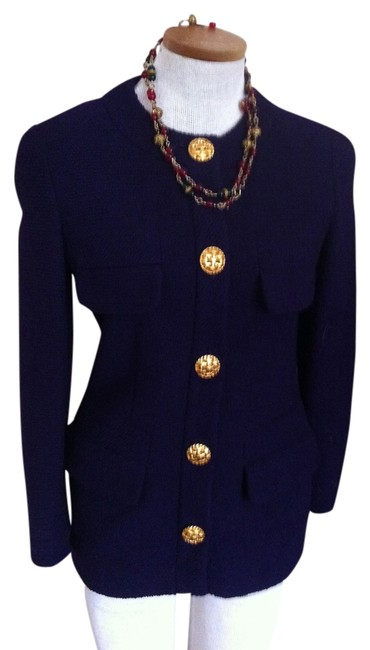Item - Purple Wool with Large Gold Buttons Jacket Size 4 (S)