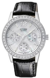 Citizen Citizen ED8090-11D Women's Quartz Swarovski Crystal MOP Dial Leather Strap Watch