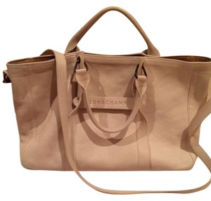 Longchamp Leather Tote in Cream