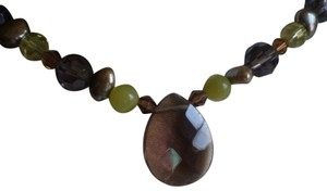 Cookie Lee smokey quartz beaded necklace