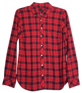 Talbots Top red and black plaid