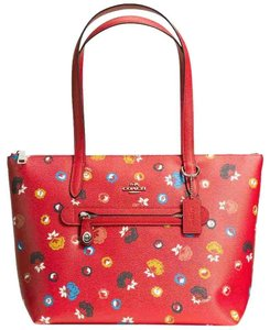 Coach Shoulder Tote in Silver Carmine Multi