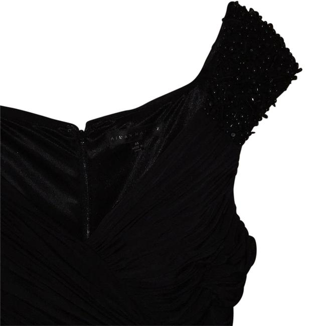 Item - Black with Tonal Hand Beading Above Knee Night Out Dress Size 14 (L)