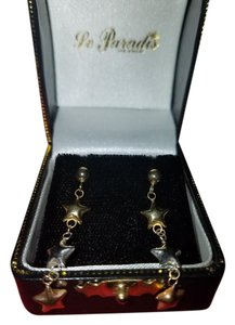 Le Paradis Las Vegas Vintage Marked 14K Plated Yellow Gold, Silver and Rose Gold Star Dangle Earrings
