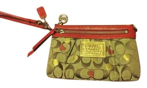 Coach Signature Monogram Wristlet in Khaki, red, gold, brown