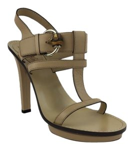 Gucci Platform Tan Leather Bamboo Beige Sandals