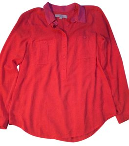 Ann Taylor LOFT Button Down Shirt Pink/ Orange