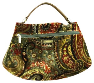 Etro Italy Casual Velour Leather Shoulder Bag