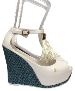 Melissa White/Blue Wedges
