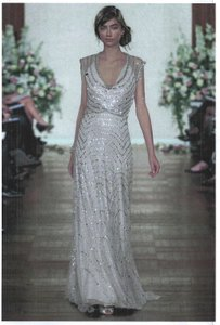 Jenny Packham Platinum Silk Base with Lace Sequin/Bead Overlay Strelitzia Vintage Wedding Dress Size 14 (L)