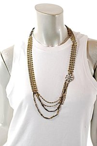 Lulu Frost LULU FROST Clear Crystal/Antique Brass Chain Necklace w/Lobster Clasp - 32