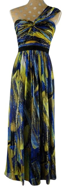 Item - Blue/Gold Silk Metallic One-shoulder Evening Gown Long Night Out Dress Size 6 (S)