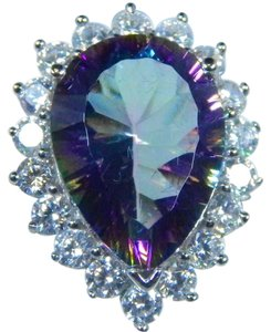 9.2.5 Pear Shape Mystic Blue Quartz Stone Starburst Cut Sterling Silver Ring