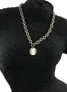 Tiffany & Co. * Tiffany & Co Wave Circle Tag Pendant On Link Chain Necklace