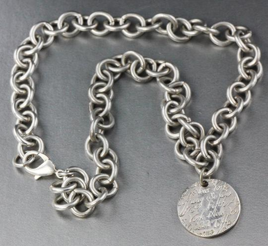 Tiffany & Co. * Tiffany & Co Wave Circle Tag Pendant On Link Chain Necklace Image 1