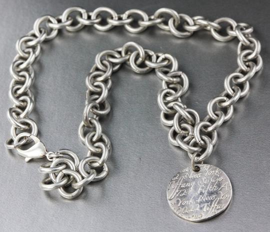 Tiffany & Co. * Tiffany & Co Wave Circle Tag Pendant On Link Chain Necklace Image 3