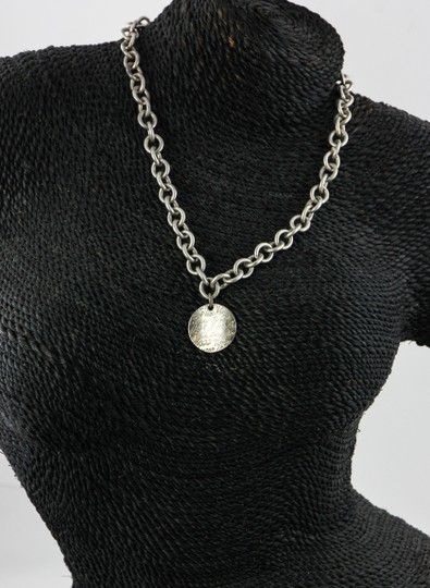 Tiffany & Co. * Tiffany & Co Wave Circle Tag Pendant On Link Chain Necklace Image 4