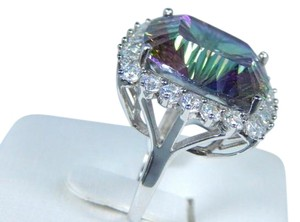 9.2.5 Cushion Shape Mystic Blue Quartz Stone Sterling Silver Ring
