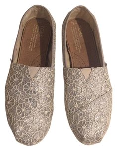 TOMS Slip Ons Silver Flats