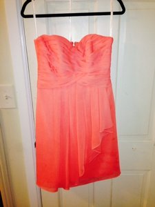 David's Bridal Coral Reef Chiffon/Polyester Short Crinkle Front Cascade - F14847 Destination Bridesmaid/Mob Dress Size 6 (S)