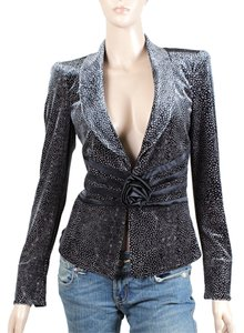 Armani Collezioni Polka Dot Velvet Floral Applique Satin Evening Blue, Black, Lavender Blazer