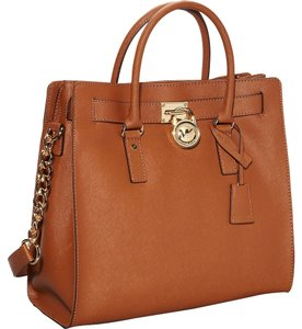 158b6ff71a26 Michael Kors Hamilton Large Saffiano Luggage Brown/Caramel Tote with Golden  Lock Caramel/ Brown Genuine Leather Satchel