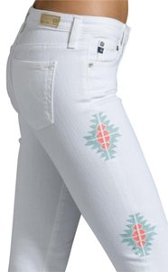 AG Adriano Goldschmied Stilt Cigarette Sante Fe Aztec Embroidered Skinny Skinny Jeans-Light Wash