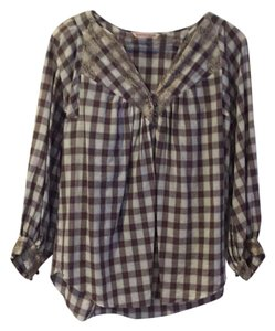 Rebecca Taylor Tunic Plaid Lace Lace Trim Top Multi