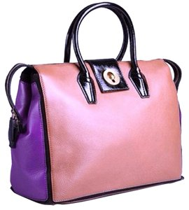 Yves Saint Laurent Ysl Colorblock Tote in Brown & Purple