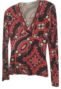 Emilio Pucci Colorful Geometric Retro Red T Shirt Cranberry