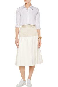 Rag & Bone Satin And Leather Midi Pleated 0 Skirt Beige