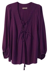 Rebecca Taylor Silk Front Lace Up Tunic Top Purple