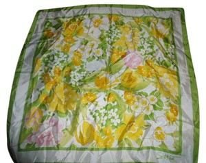Avon AVON Silky Spring Scarf YELLOW FLOWERS GREEN & WHITE WATER REPELLENT