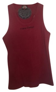Harley Davidson Long Sleeveless Ribbed Top Burgundy with black