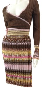 Missoni Wrap-tie Long-sleeve Knee-length Fabulous Colors Fabulous Print Versatile Wear Office Day Evening Dress