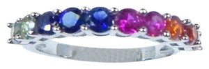 9.2.5 Multi-Color Sapphire Cut Round Set In one row across Sterling Silver