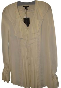 Rachel Zoe Cream Off White Holiday Christmas Top Cream/ Ecru