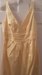 David's Bridal Canary Yellow Cotton F14259 Casual Bridesmaid/Mob Dress Size 6 (S)