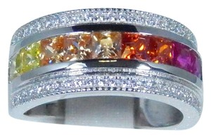 Other Multi-Color Sapphire Cut & Princess Cut CZ'S Sterling Silver Ring