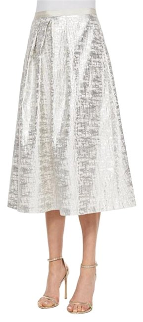 Kay Unger W New W/ Tags Phoebe Silver Jacquard Ball Skirt Size 2 (XS, 26) Kay Unger W New W/ Tags Phoebe Silver Jacquard Ball Skirt Size 2 (XS, 26) Image 1