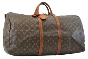 Louis Vuitton Luggage Duffle Carry On Keepall Brown Travel Bag