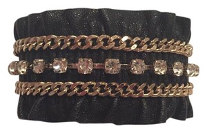 White House | Black Market WHBM Crystal Chain Leather Cuff Bracelet